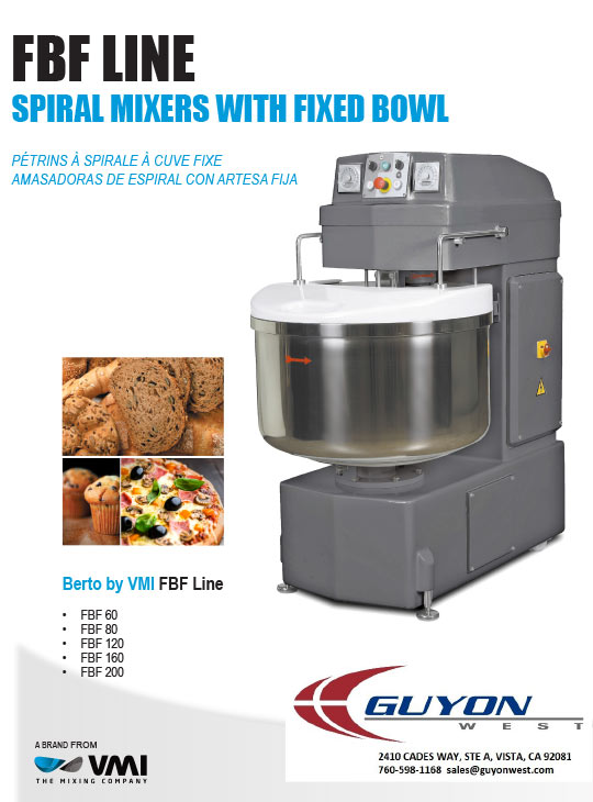 guyon west fixed bowl spiral mixer vmi